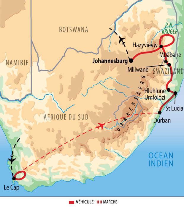 Carte de l'essentiel de l'Afrique du Sud