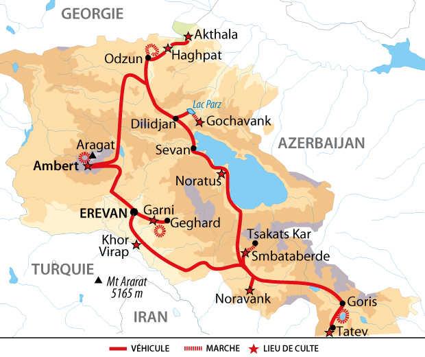 Carte de l'essentiel de l'Arménie