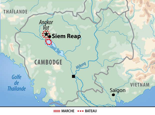 Carte de l'extension Angkor et lac Tonle Sap