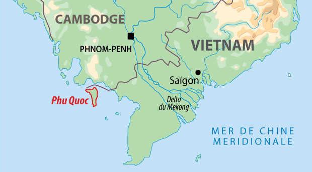 Carte de l'extension balnéaire sur l'île de Phu Quoc