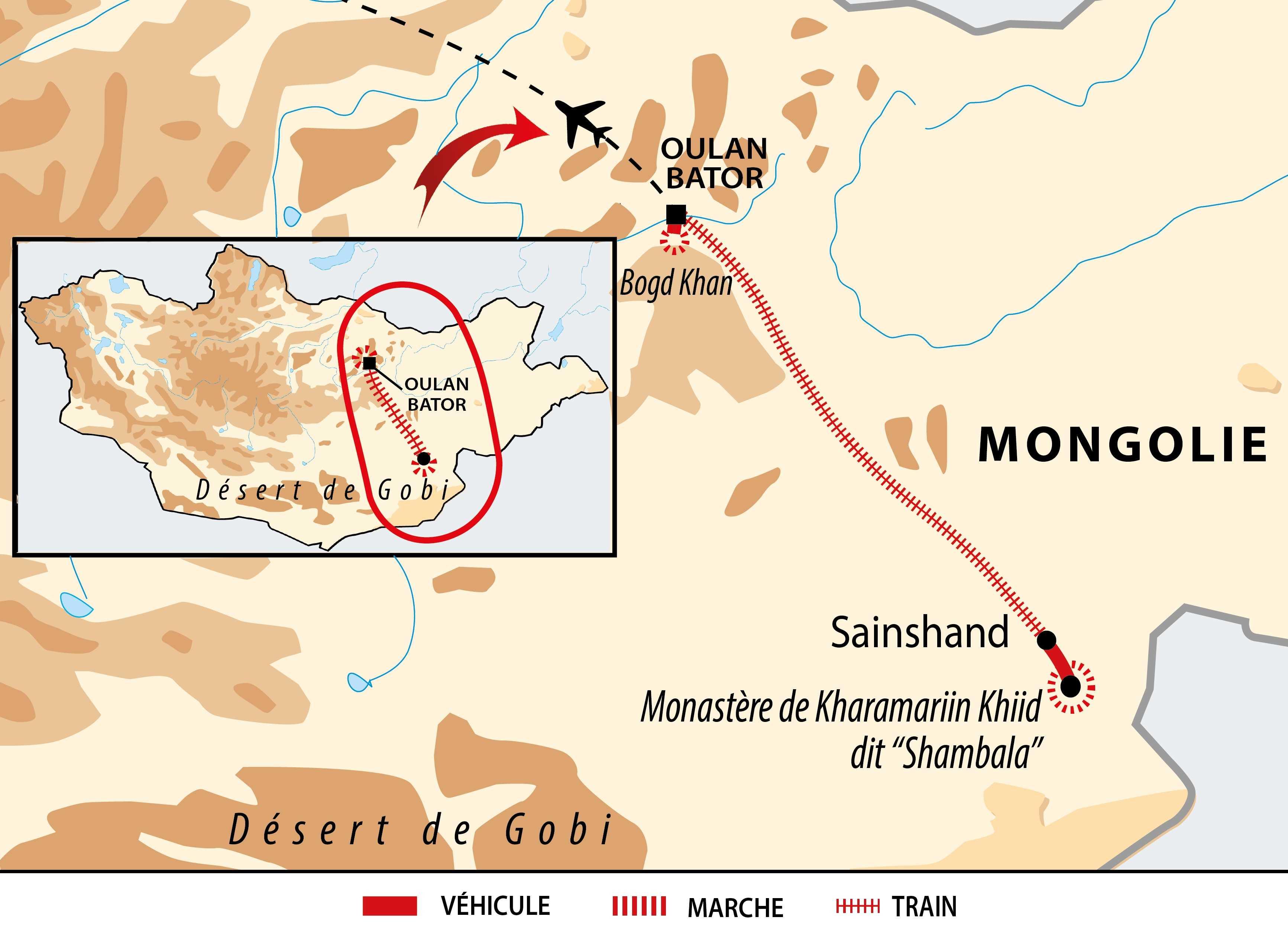 Carte de l'extension du transmongolien en Mongolie