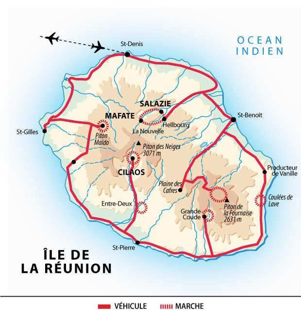 Carte de l'itinéraire balades et rencontres en terres créoles