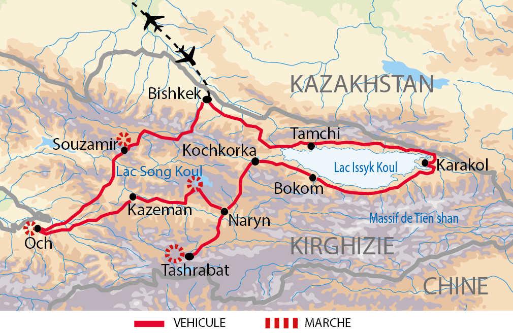Carte de l'itinéraire grande boucle nomade sur la route de la soie