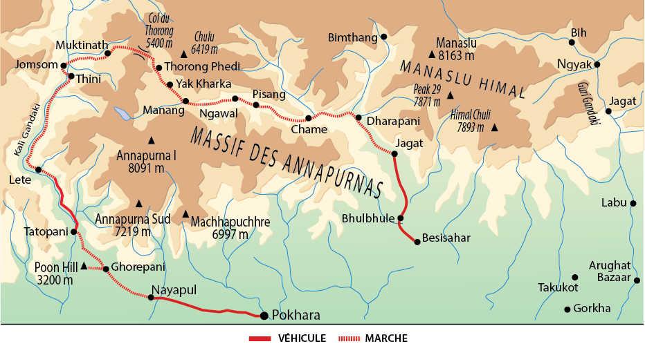 Carte de l'itinéraire le grand tour des Annapurnas