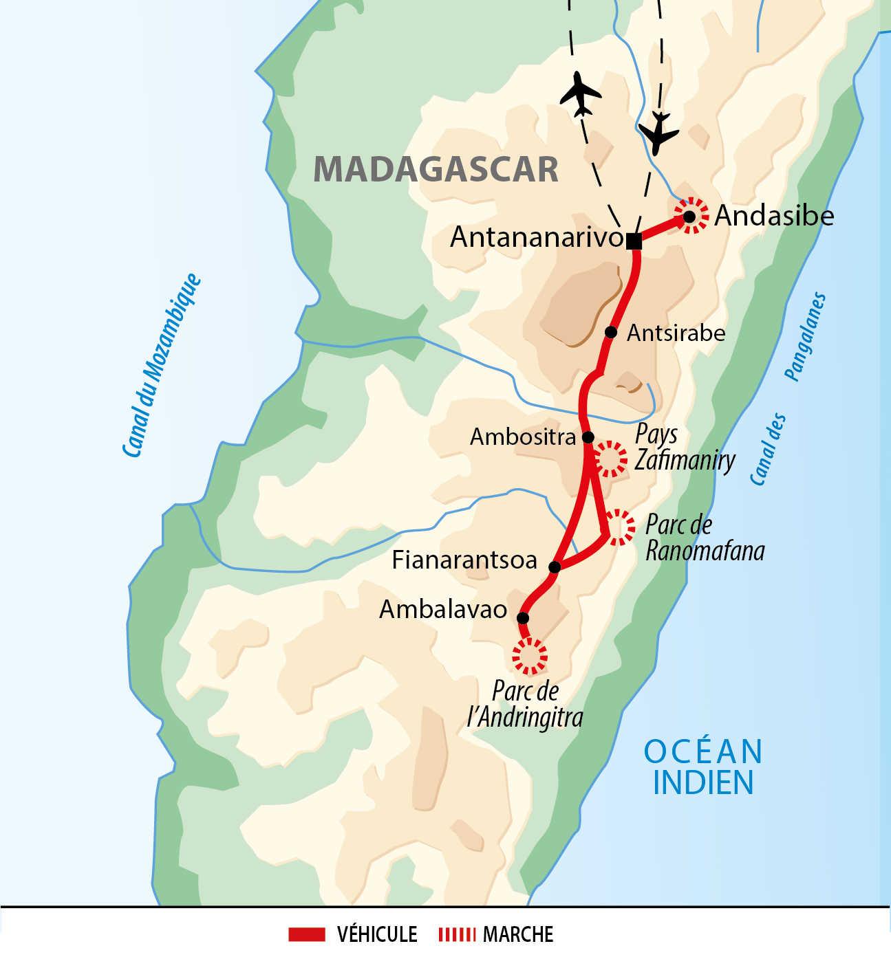 Carte de l'itinéraire Montagnes et forêts du Sud