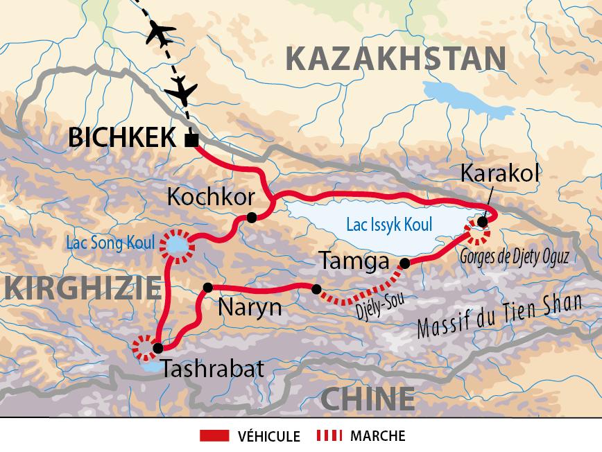 Carte de l'itinéraire randonnées célestes
