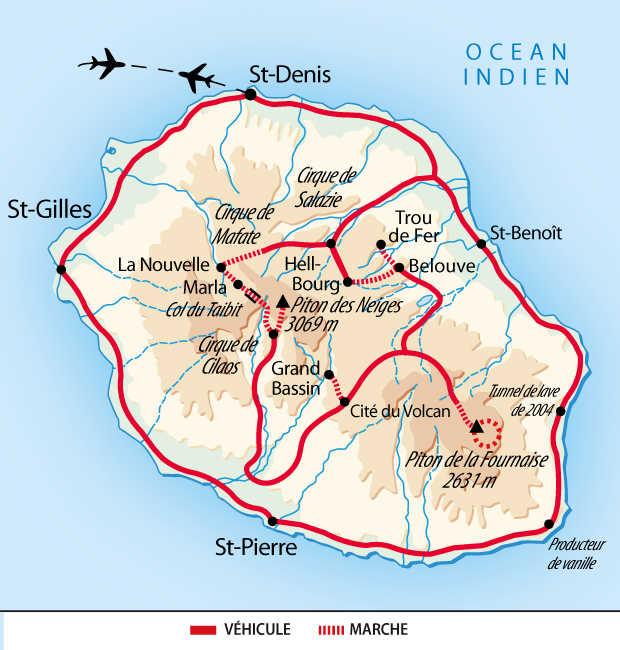 Carte de l'itinéraire randonnées de cirques en volcans et tunnel de lave