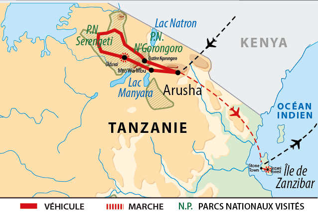 Carte de l'itinéraire Safaris et Zanzibar