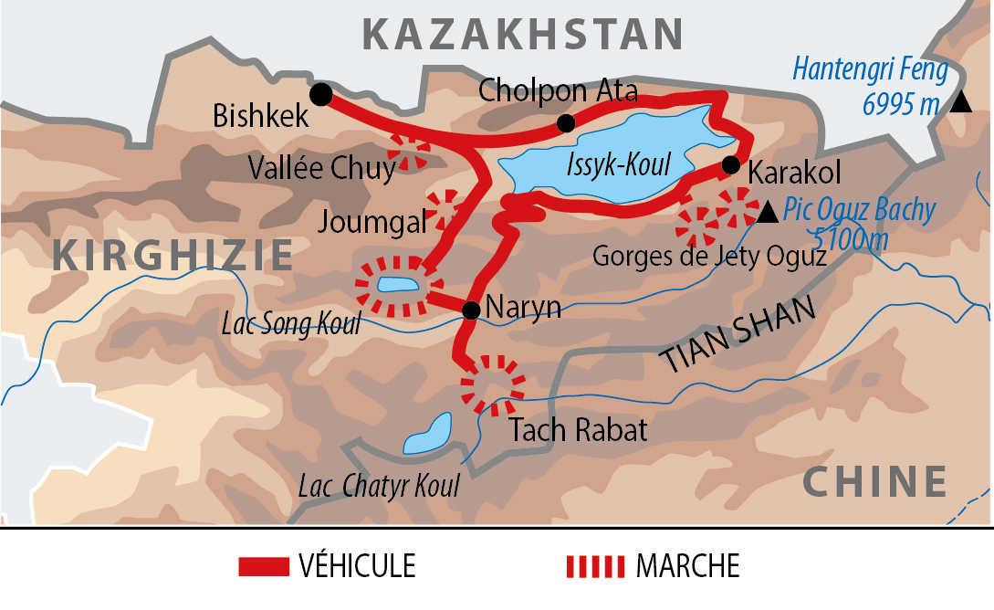 Carte de l'itinéraire trek chez les nomades kirghiz