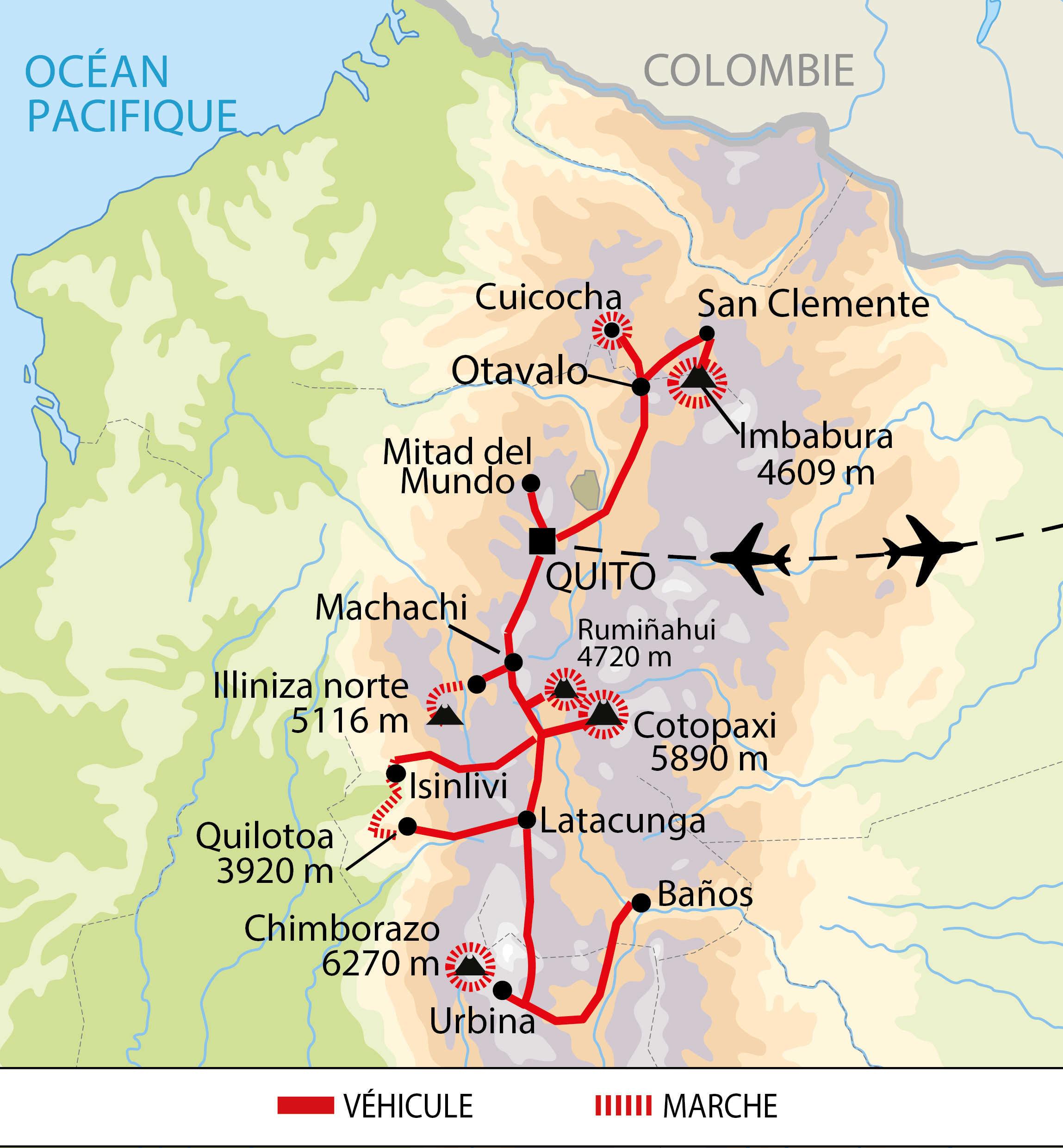 Carte de l'itinéraire trekking sur l'avenue des volcans Equateur