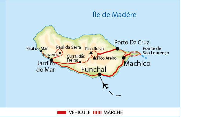 Carte de Madère du Nord au Sud