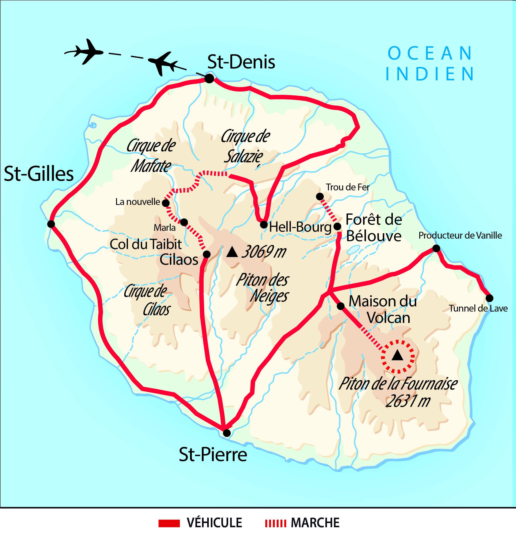 Carte de randonnées créoles