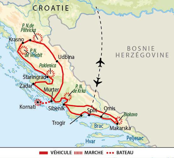 Carte de randonnées dans les parcs nationaux croates