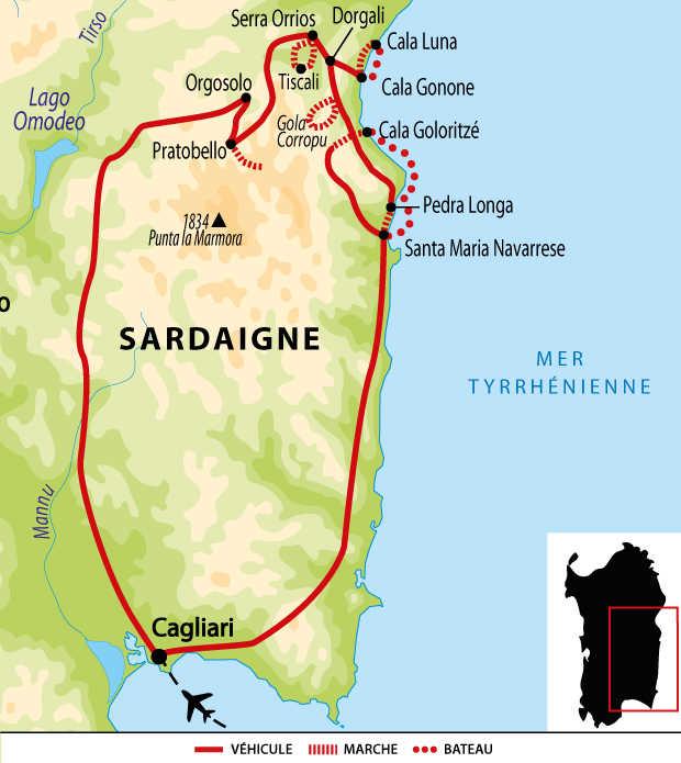 Carte de randonnées en Sardaigne