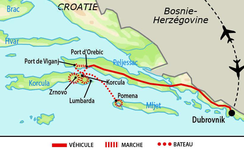Carte de randonnées sur lîle de Korcula