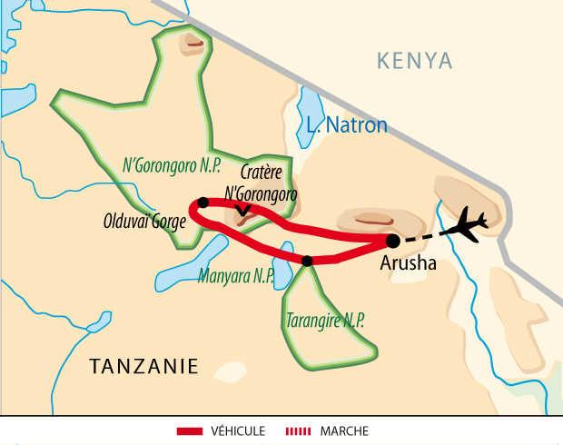Carte de Safari, le meilleur du nord tanzanien