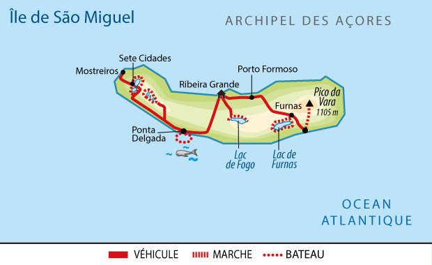 Carte de Sao Miguel aux Açores