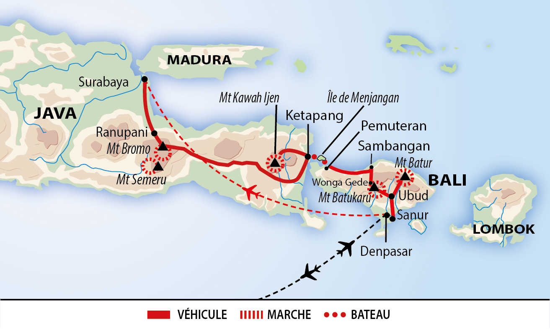 Carte de traversée volcanique indonésienne