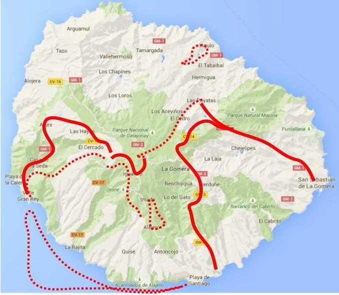 Carte de trek à La Gomera