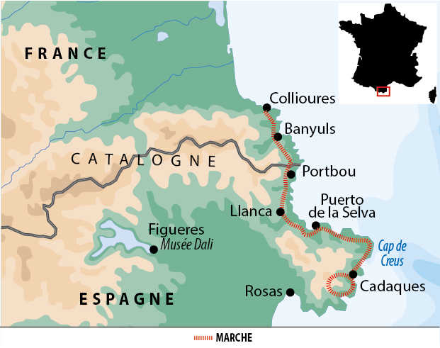 Carte de trek itinérant: De Collioure à Cadaquès