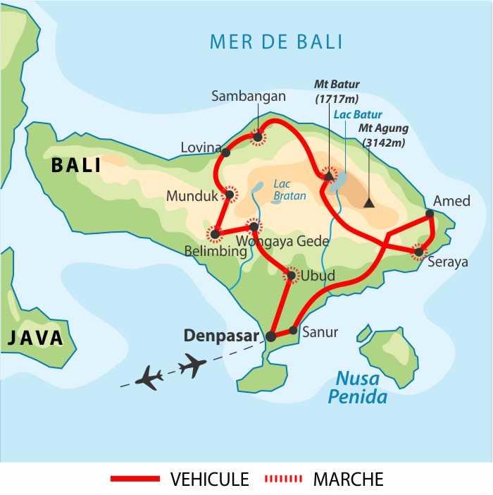 Carte de voyage à Bali