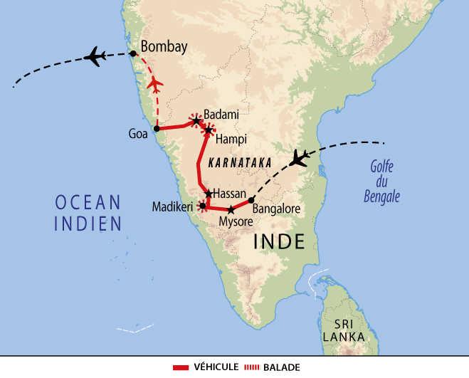 Carte de voyage à Karnataka et Goa