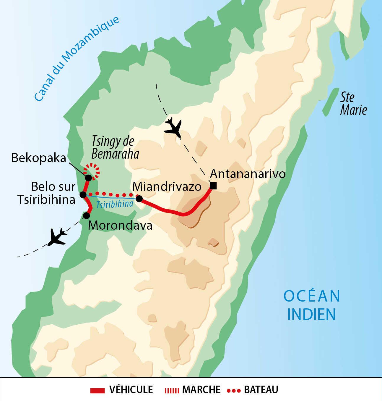 Carte de voyage à l'ouest de Madagascar : Rivière, Tsingy & Baobab