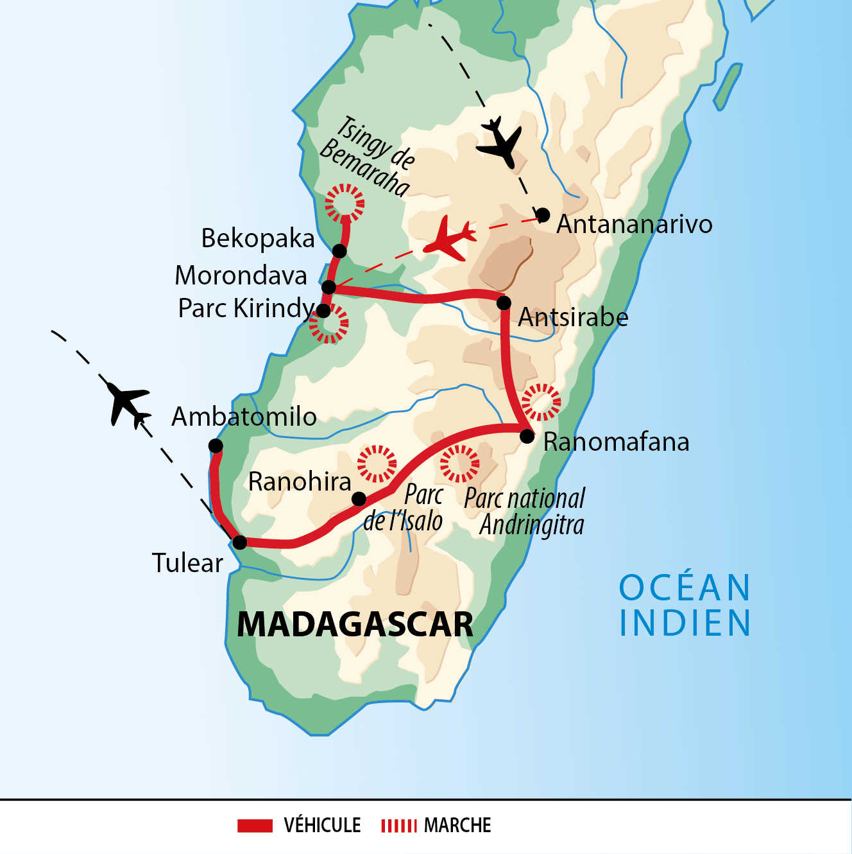 Carte de voyage à Madagascar