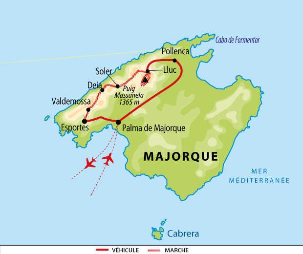 Carte de voyage à Majorque en liberté