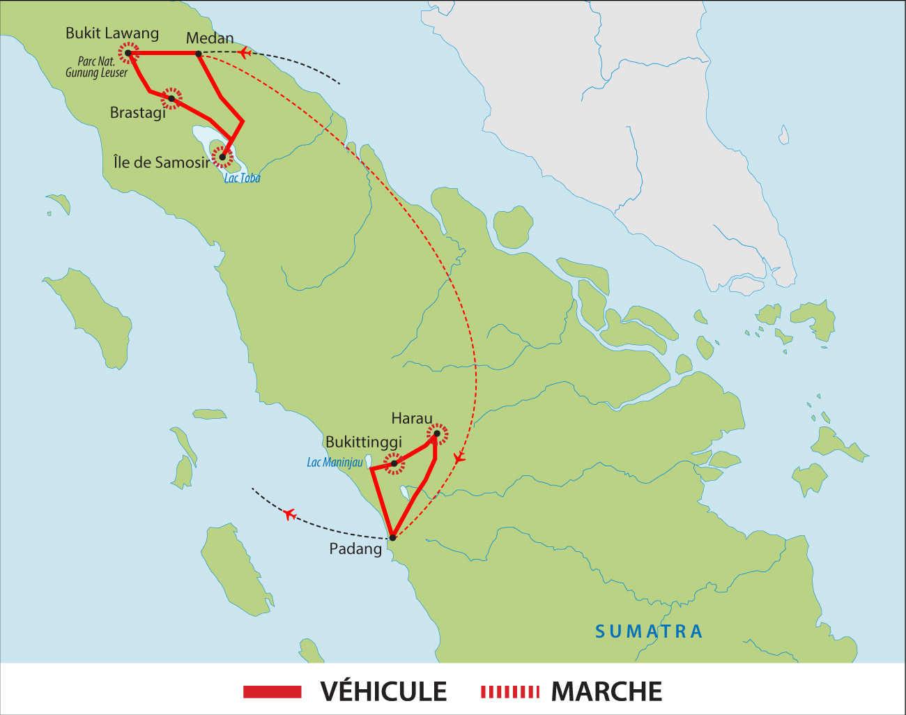 Carte de voyage à Sumatra