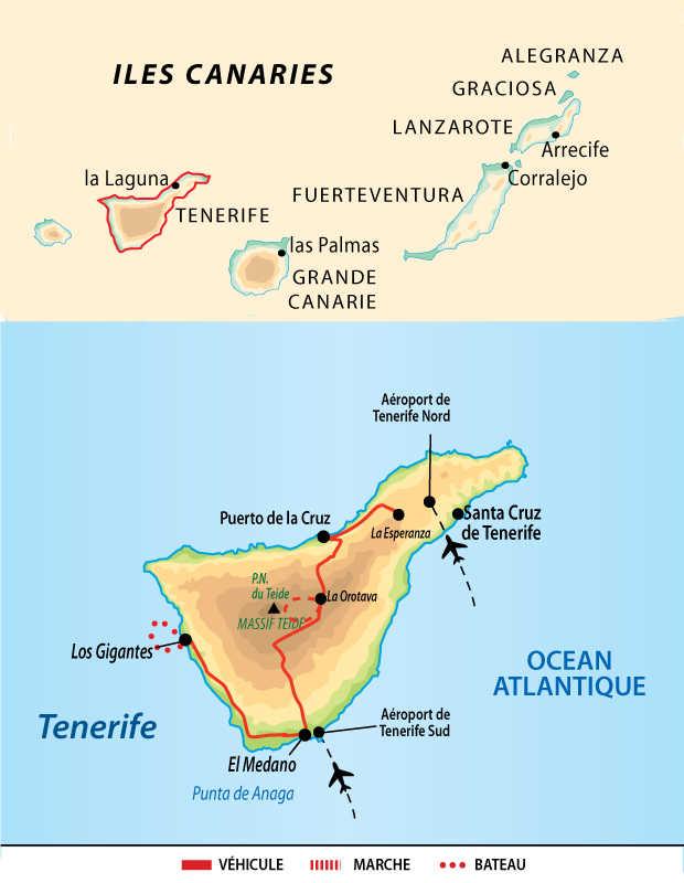 Carte de voyage à Tenerife aux Canaries