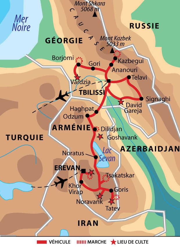 Carte de voyage au cœur du Caucase