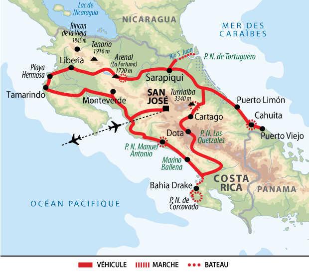 Carte de voyage au Costa Rica