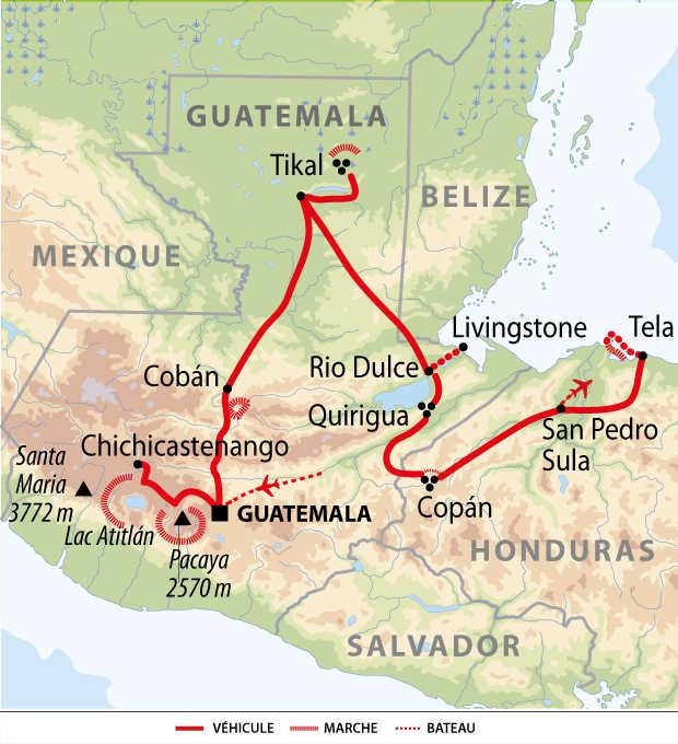 Carte de voyage au Guatemala et Honduras