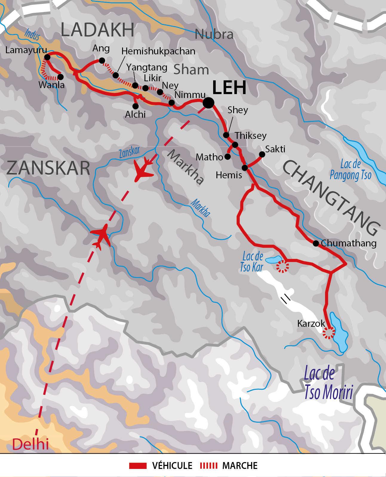 Carte de voyage au Ladakh
