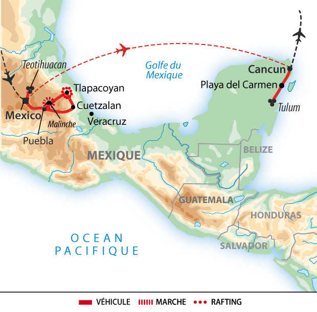 Carte de voyage au Mexique
