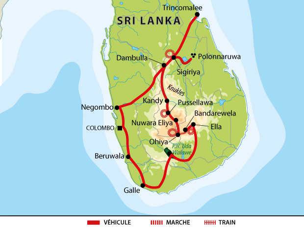Carte de voyage au Sri Lanka