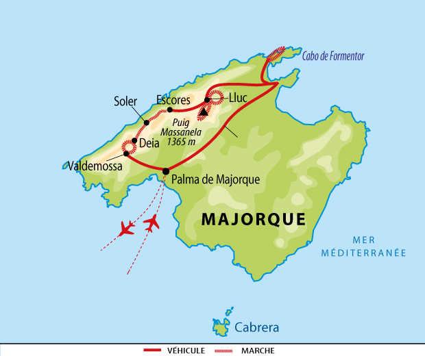 Carte de voyage aux Baléares en liberté