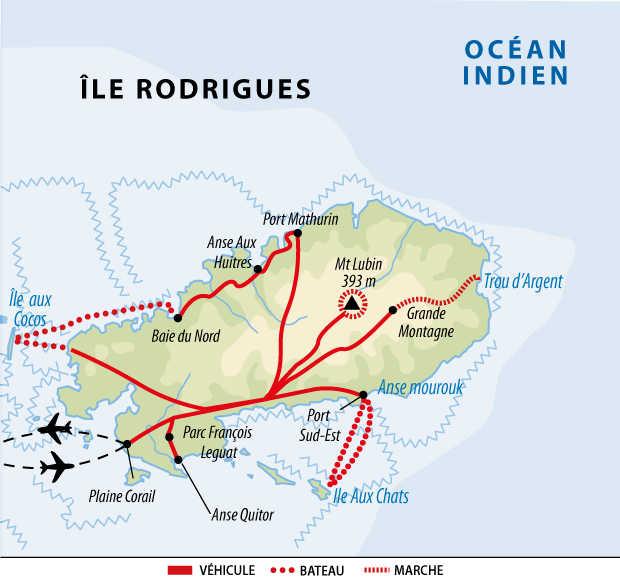Carte de voyage aventure sur l'île Rodrigues