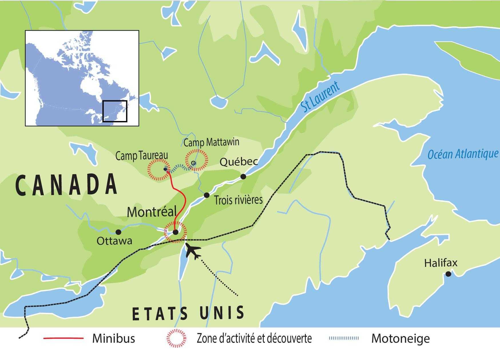 Carte de voyage Canada, circuit UCAMA1