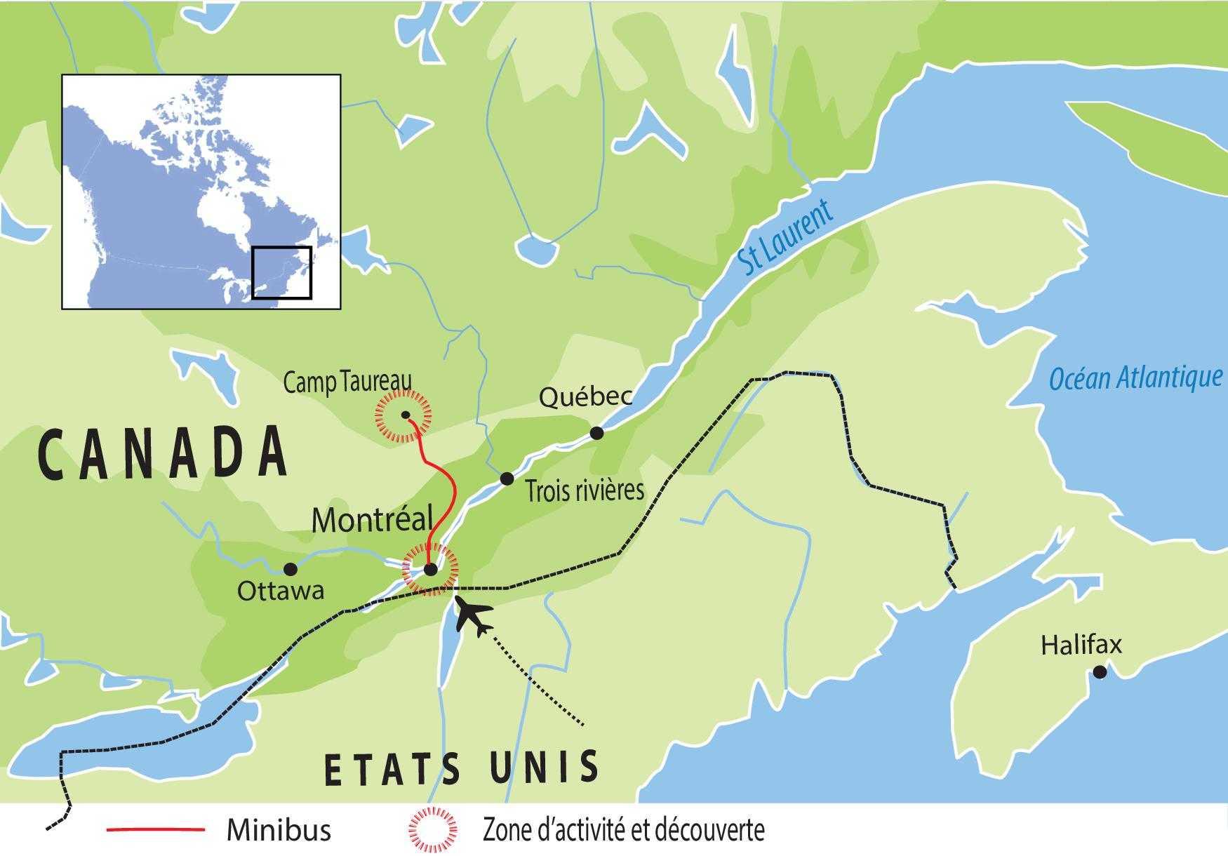 Carte de voyage Canada circuit UCAMA2
