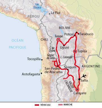 Carte de voyage d'Altiplano