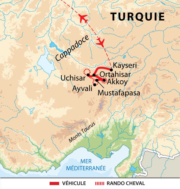 Carte  de voyage dans la Cappadoce à cheval