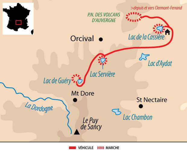 Carte de voyage dans le  Massif Central en Auvergne