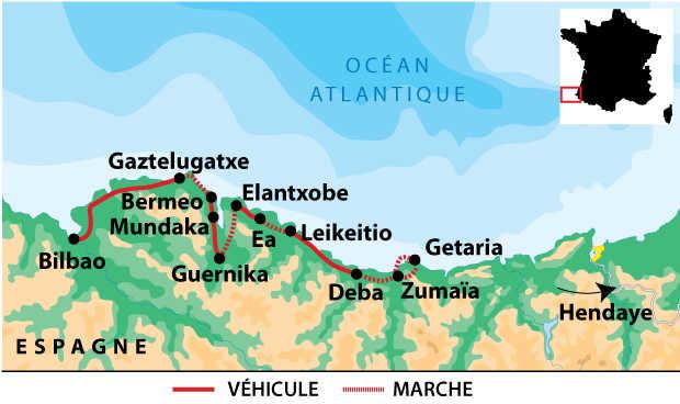 Carte de voyage dans le pays Basque en Espagne