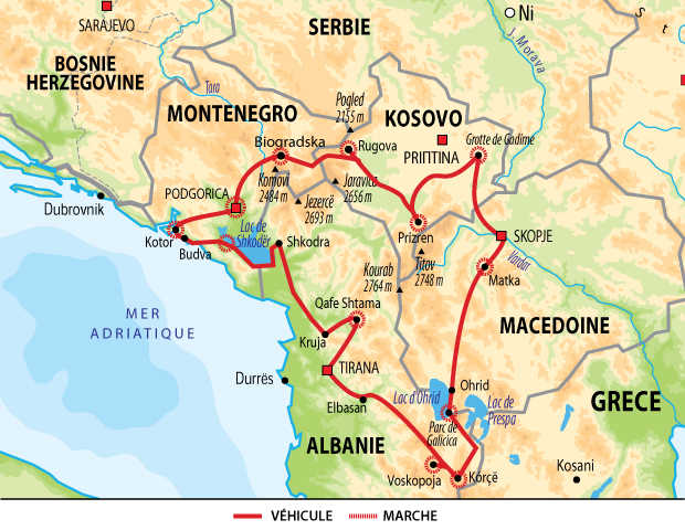 Carte de voyage dans les Balkans