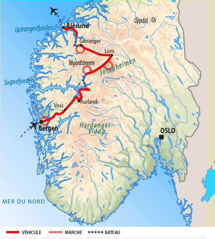 Carte de voyage dans les fjords du sud norvégien