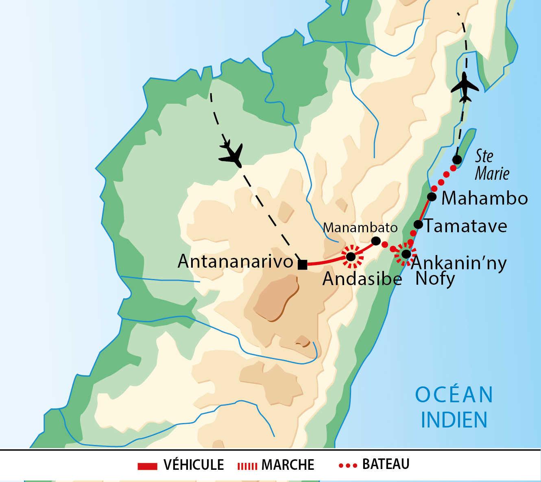 Carte de voyage dans l'est de Madagascar
