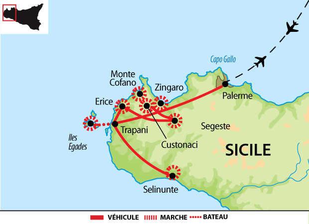 Carte de voyage dans l'ouest sicilien