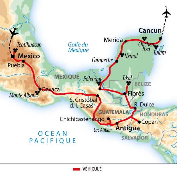 Carte de voyage de la Grande découverte des civilisations de Mésoamérique